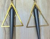 Simple Geometric Triangle Pointed Spike Dangle Earrings
