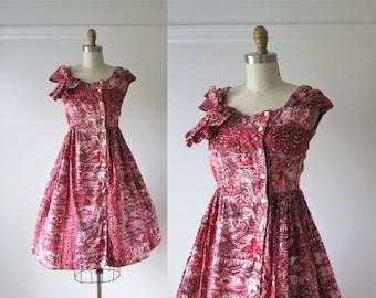 vintage 1950s dress / 50s dress / Bali Hai