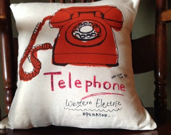 Vintage Telephone Pillow. 12X12