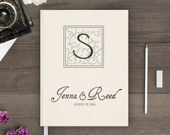 Monogram Wedding Guest book, Blank guestbook, Sign in book wedding, Vintage personalized - gb0056