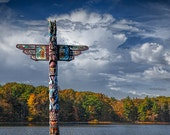 Indian Tribal Totem Pole during Autumn by a Lake against a Cloudy Blue Sky in Southwest Michigan No.1818 A Fine Art Landscape Photograph