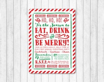 Holiday Invitation, Holiday Party Invitation, Christmas Invitation, Christmas Party Invitation, Merry Christmas Invite, Red White and Green