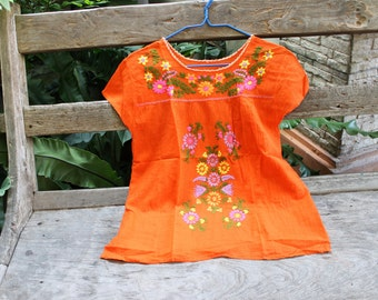 M-L Bohemian Embroidered Top - Orange