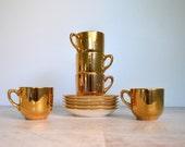 Vintage 1940s Teacups, 5 Gold Demitasse Cups, Gilded Eggshell Cup, Saucers, Dainty Elegant Set