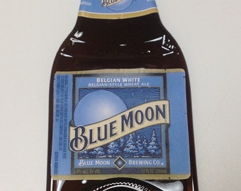 Fused flat Blue Moon Beer bottle