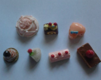 Sale--Kawaii cake cabochon decoden deco diy charm mix 7 pcs A 11--USA seller
