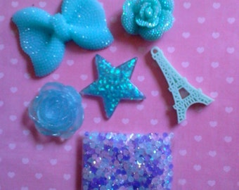 Kawaii decoden deco diy blue bow cabochon charm kit  194---USA SELLER