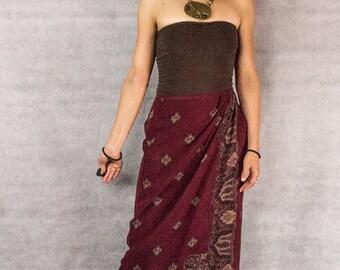 90s Silk Far East Wrap Skirt///size 8