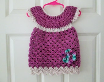 Crochet baby dress, 3-6 months, magenta, with flower