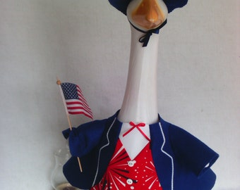 GOOSE SUMMER CLOTHING  -  Uncle Sam Labor Day Patriotic goose outfit - Flag Day - Memorial Day - Plastic or Concrete Lawn goose Clothes