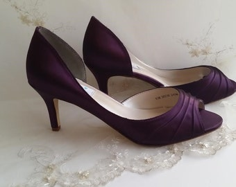 Wedding Shoes Bridal Shoes Eggplant Purple Wedding Shoes or PICK FROM 100 COLORS Bridesmaid Shoes