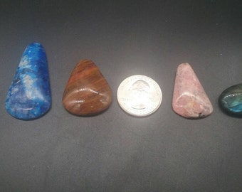 Lapis lazul, rhodocrosite, fossilized wood, and labradorite cabochons