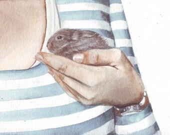 HM082 Original art watercolor painting Bunny by Helga McLeod