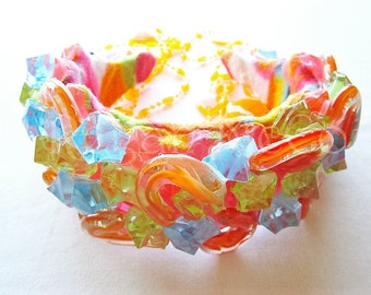 ICE ICE BABY Argentinian Hand Blown Glass Multi Colored Jeweled Assemblage Wearable Art Choker