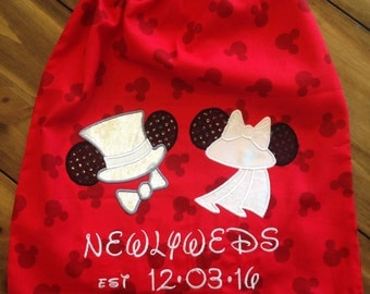 Disney Honeymoon Drawstring Backpack with Custom Monogramming