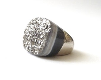 Sterling Silver and Druzy Ring Milor Italy Agate