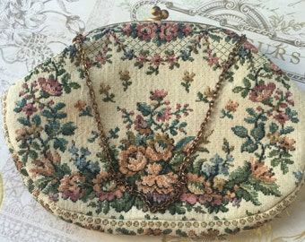 Vintage Petit Point Tapestry Purse Made in France for Kaufmann's Fifth Ave Pittsburgh, Vintage Needlepoint purse, Estate Sale Clutch