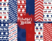 We the People Democratic Blue Republican Red Political Presidential Papers Digital Elephant Donkey Pattern Backgrounds