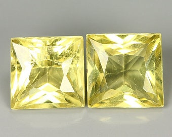 APATITE (32291) -  PAIR (2 Stones) Bright Yellow Apatite Princess Cutl.  Madagascar mined
