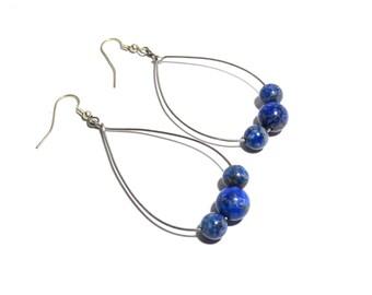 Lapis Lazuli Stone Earrings, Women, Teen, Blue, Healing Stone, Ready To Ship
