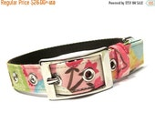 ON SALE Girl Pink and Brown Floral Dog Collar