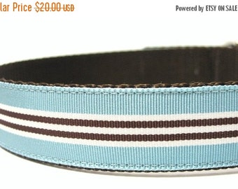 BIG Summer SALE Mod Blue Stripes Dog Collar