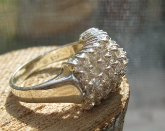 Vintage Sterling Silver Ladies Ring Encrusted with Cubic Zirconium Stones Size 7 Cocktail Style Women's Ring