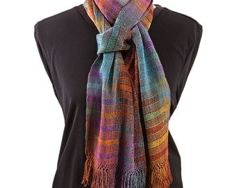 Hand Woven Organic Bamboo Scarf, Autumn Colors, Calabe Weave