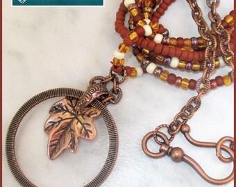Multistrand Copper Pendant Necklace, Copper Leaf Necklace, Boho Chic Copper Jewelry, Multicolor Statement Necklace, Beaded Cord Necklace