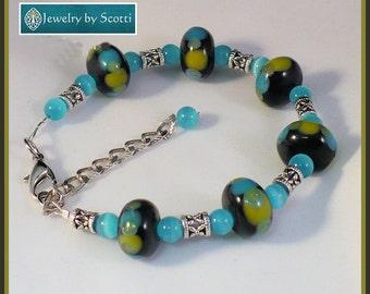 Chunky Blue Green Beaded Bracelet, Her Unique Bracelet, Lampwork Glass, Turquoise Catseye, Antiqued Silver, Statement Bracelet, Gift for Her