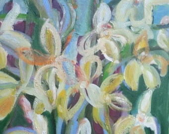 Flower oil painting- Irises- abstract oil flower Painting on Canvas- 16x20 inches-