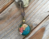 Globe Pendant Keychain or Necklace South America Fathers Day Gift Travel World Map Wanderlust Gift for Traveler