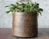 Reclaimed Vintage Industrial Metal Planter Pot Flower Vase Farm Chic Boho Metal Can Indian Metal Home Decor