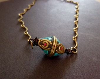 40% OFF SALE! - Unique Brass Beads Inlaid with turquoise and Coral Antiqued Brass Scalloped Chain Bracelet