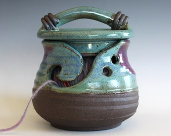 Kitty-Proof Yarn Bowl -- handmade ceramic yarn bowl, In stock Ready to Ship
