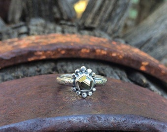 Pyrite Nugget & Sterling Silver Ring