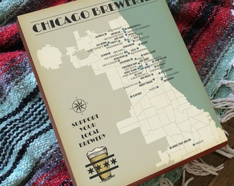 Chicago Brewery Map - Chicago Beer Map - Wood Block Art Print