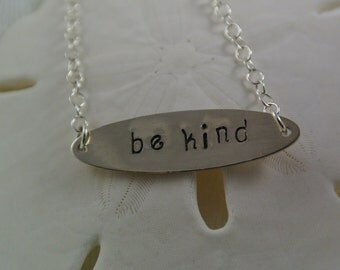 """Hand-stamped """"Be Kind"""" Necklace"""
