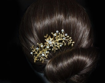 gold rhinestone hair comb,leaf hair comb,wedding hair comb,bridal hair comb,woodland hair comb,bridal hair accessories,wedding leaf comb