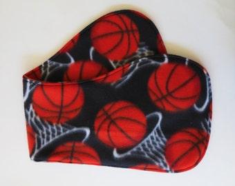 Basketball on Black Fleece baby contoured burp cloth