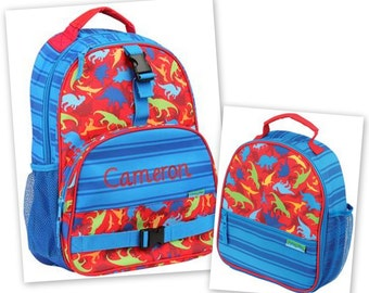 Personalized Monogrammed Stephen Joseph All over print Dino Dinosaur Backpack and Lunch tote combo--Fast Turnaround--Free Monogramming--