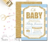 BLUE + GOLD Baby Shower Invitation, Glitter Baby Shower Invitation, Baby Shower Invitation Boy, Printable Baby Shower Invitation