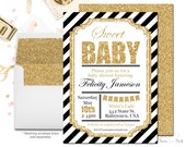 Black and Gold Baby Shower Invitation, Glitter Baby Shower Invitation, Boys Shower Invite, Printable Baby Shower, Classic Black Stripes