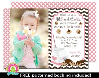 Milk and Cookies Party Invitation - Birthday Invitations for Girls - Milk and Cookies Party Invitation - Girls 1st Birthday Invitation