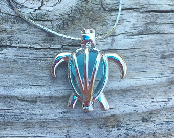 Sea Glass Turtle Locket Necklace by Wave of Life™