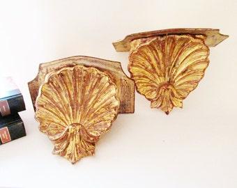 Italian Wood Florentine Hollywood Regency Shelves, Clam Shell Shelf, Palm Beach Decor