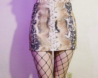 90s snake skin digital print tan mini skirt size 5