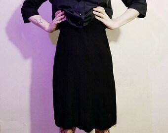 Vtg 50s below the knee little black skirt 25in waist
