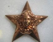 Rare Star Goddess, Star Child Brass Stamping: Art Nouveau Star with Goddess, Deep Struck Stamped Brass Finding, Decoration, 34mm, 1 pc.