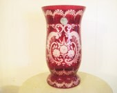Vintage Czech Vase, 1950s Egermann Bohemian Ruby Red Floral Lazure Cut to Clear Art Glass, Original Tag and Gift Box, 8 x 4.5""